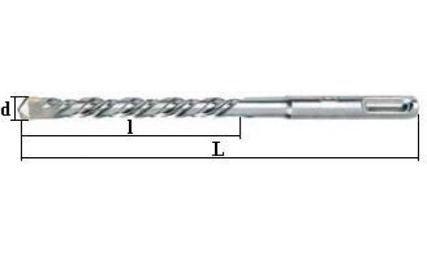 Grąžtas betonui SDS+:  Ø-10,0 mm; bendras ilgis L-160 mm; darbinis ilgis l-110 mm.