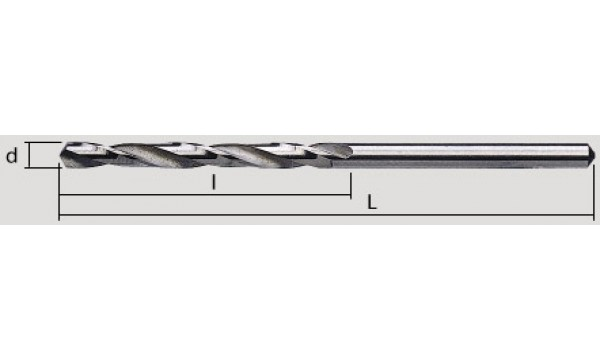 Grąžtas metalui:  Ø-0,65 mm; bendras ilgis L-26 mm; darbinis ilgis l-8 mm.