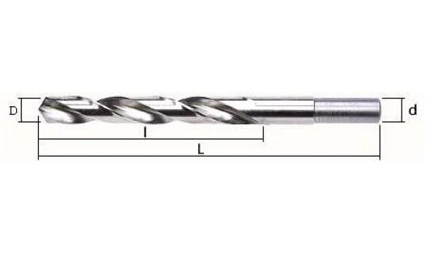 Grąžtas metalui su nutekintu kotu:  Ø-19,0 mm; bendras ilgis L-198 mm; darbinis ilgis l-135 mm.
